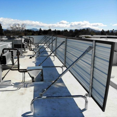 R Panel Mechanical Screen in Santa Rosa, California by Cascade on a PVC Roof