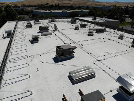 cascade rooftop screens aerial view of frames and panels from behind