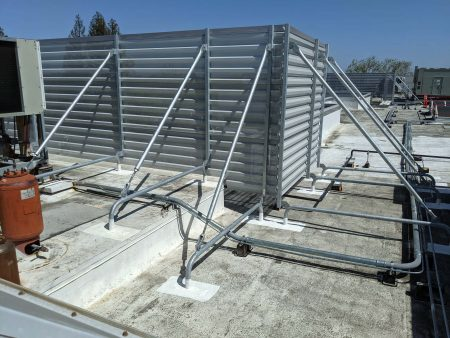 elevated and non-elevated rooftop equipment screen frames with perforated panels